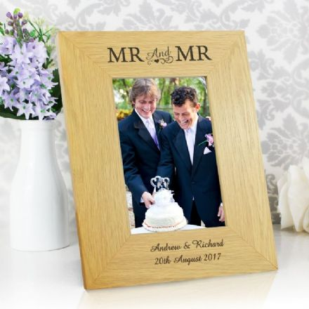 Personalised Mr & Mr 6x4 Oak Finish Photo Frame